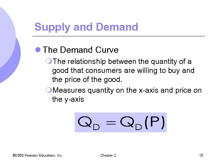 Supply and Demand l The Demand Curve m. The relationship between the quantity of