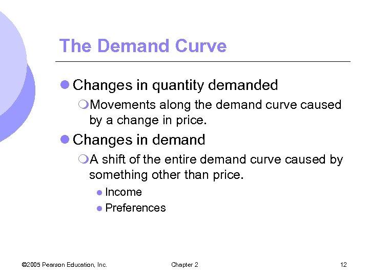 The Demand Curve l Changes in quantity demanded m. Movements along the demand curve