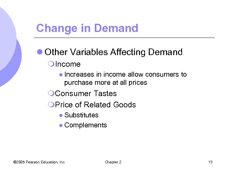 Change in Demand l Other Variables Affecting Demand m. Income l Increases in income