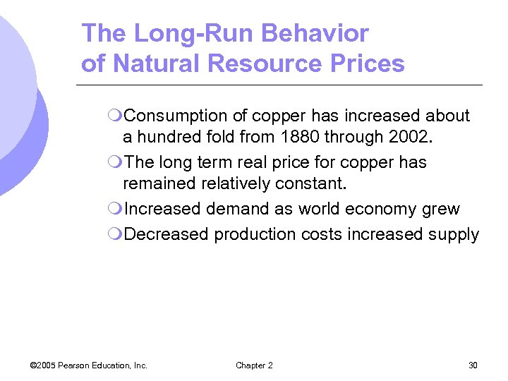 The Long-Run Behavior of Natural Resource Prices m. Consumption of copper has increased about