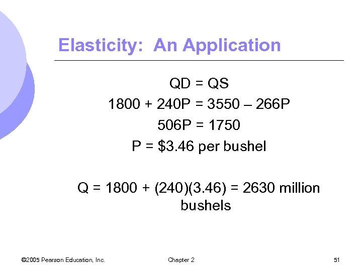 Elasticity: An Application QD = QS 1800 + 240 P = 3550 – 266