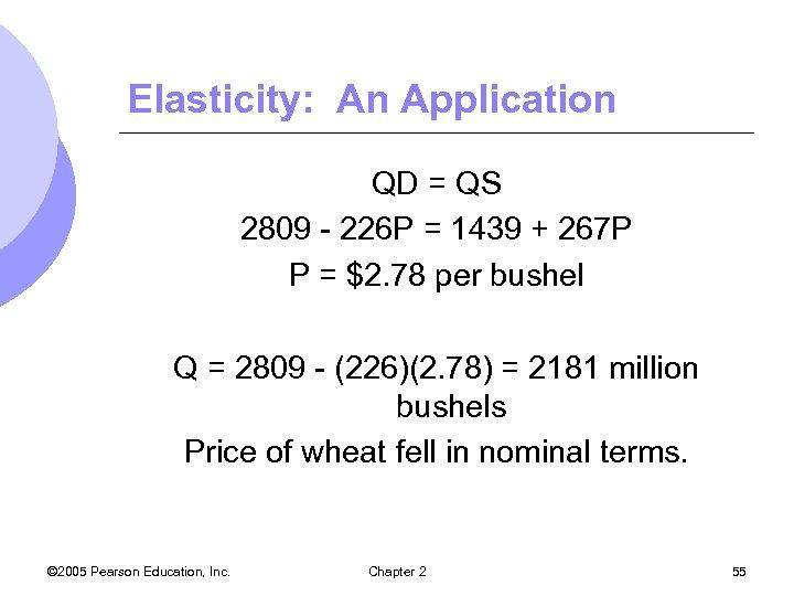Elasticity: An Application QD = QS 2809 - 226 P = 1439 + 267