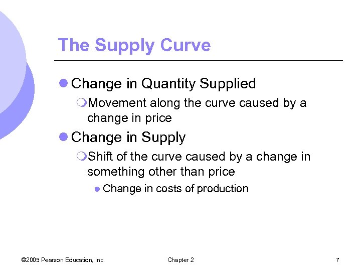 The Supply Curve l Change in Quantity Supplied m. Movement along the curve caused