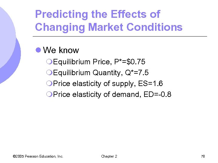 Predicting the Effects of Changing Market Conditions l We know m. Equilibrium Price, P*=$0.
