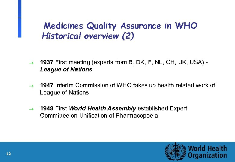 Medicines Quality Assurance in WHO Historical overview (2) ® ® 1947 Interim Commission of