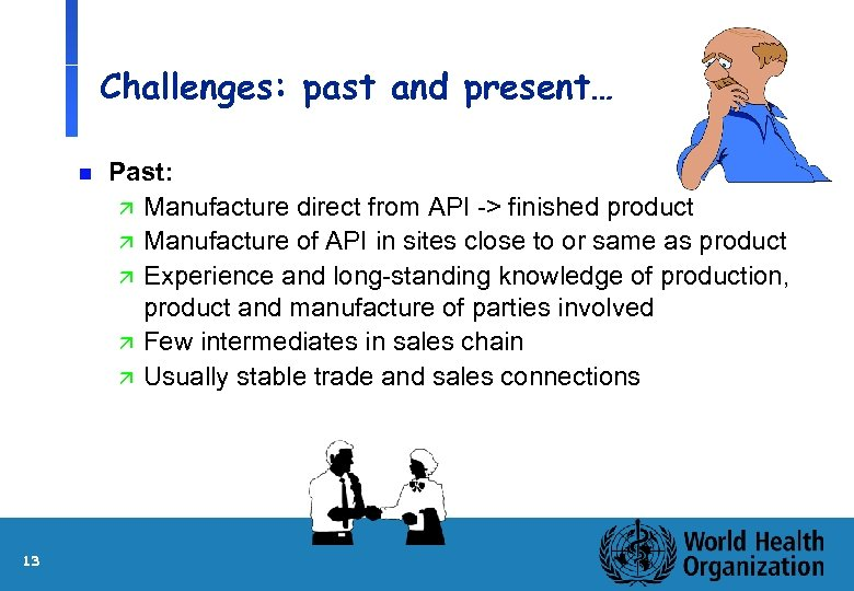 Challenges: past and present… n 13 Past: ä Manufacture direct from API -> finished