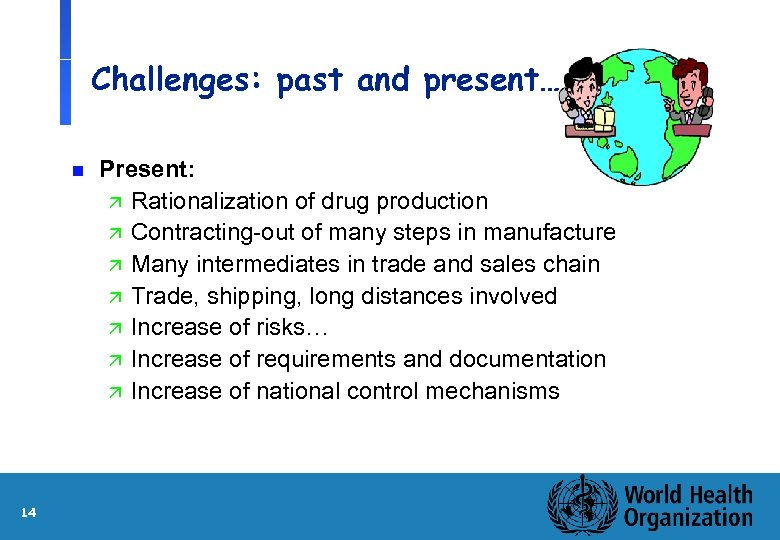 Challenges: past and present… n 14 Present: ä Rationalization of drug production ä Contracting-out