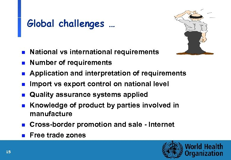 Global challenges … n National vs international requirements Number of requirements n Application and