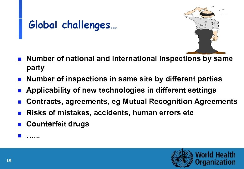 Global challenges… n Number of national and international inspections by same party Number of
