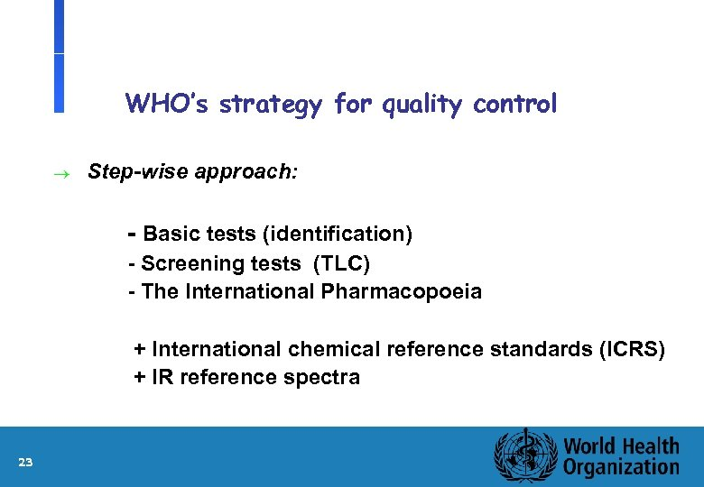 WHO's strategy for quality control ® Step-wise approach: l l l 23 - Basic