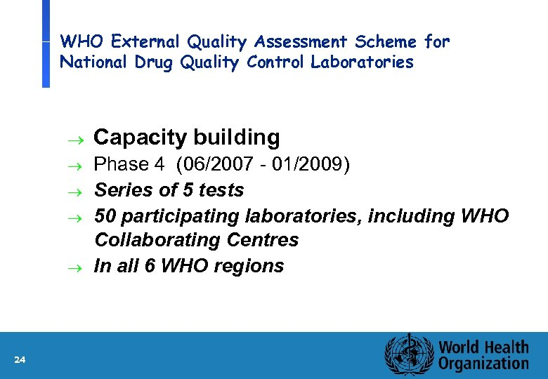 WHO External Quality Assessment Scheme for National Drug Quality Control Laboratories ® Capacity building