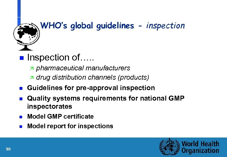 WHO's global guidelines - inspection n Inspection of…. . n pharmaceutical manufacturers ä drug