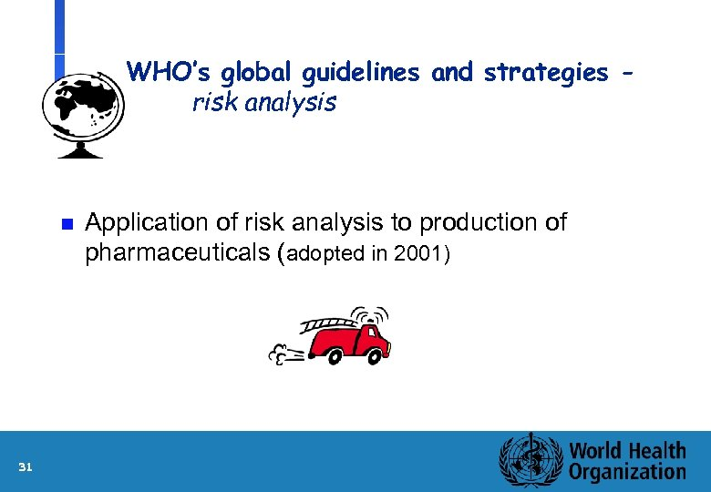 WHO's global guidelines and strategies risk analysis n 31 Application of risk analysis to