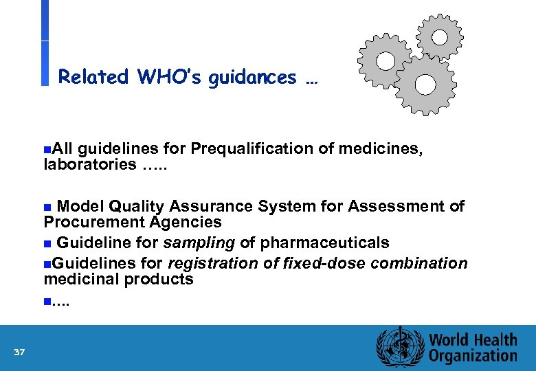 Related WHO's guidances … n. All guidelines for Prequalification of medicines, laboratories …. .
