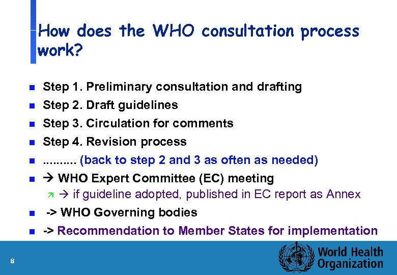 How does the WHO consultation process work? n n n n 8 Step 1.