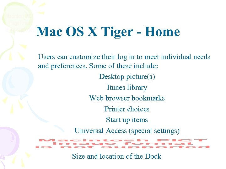 Mac OS X Tiger - Home Users can customize their log in to meet