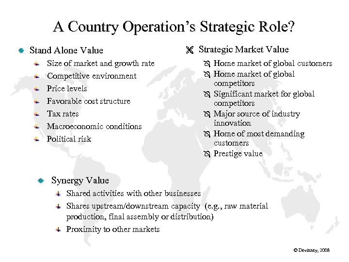 A Country Operation's Strategic Role? Stand Alone Value Size of market and growth rate