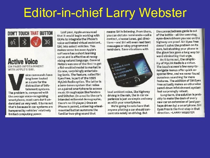 Editor-in-chief Larry Webster
