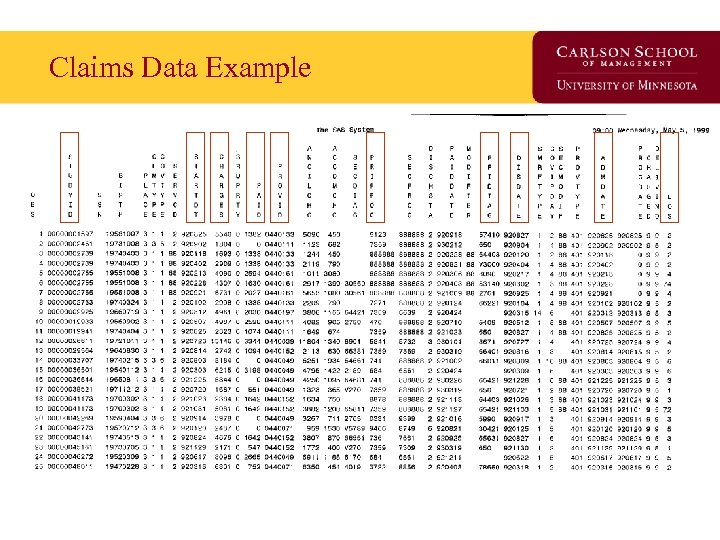 Claims Data Example