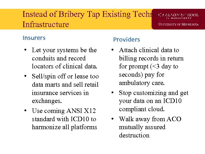 Instead of Bribery Tap Existing Technology and Infrastructure Insurers Providers • Let your systems