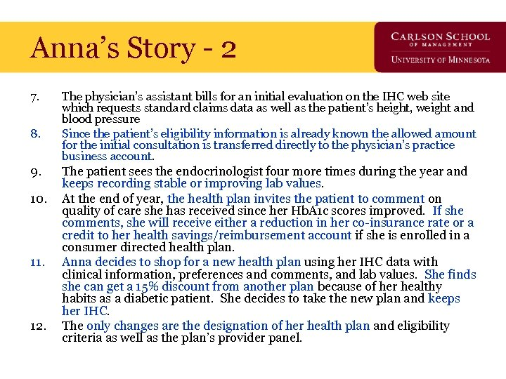 Anna's Story - 2 7. 8. 9. 10. 11. 12. The physician's assistant bills