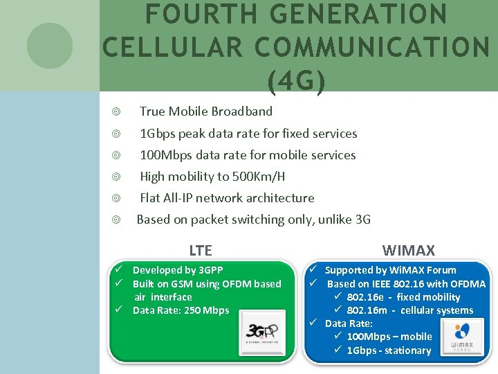 FOURTH GENERATION CELLULAR COMMUNICATION (4 G) True Mobile Broadband 1 Gbps peak data rate