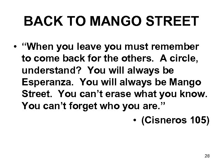 "BACK TO MANGO STREET • ""When you leave you must remember to come back"