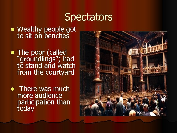 """Spectators l Wealthy people got to sit on benches l The poor (called """"groundlings"""")"""