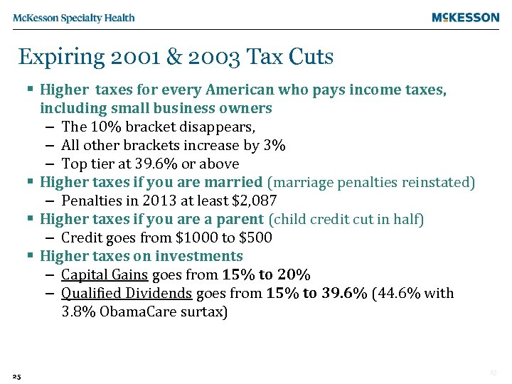 Expiring 2001 & 2003 Tax Cuts § Higher taxes for every American who pays