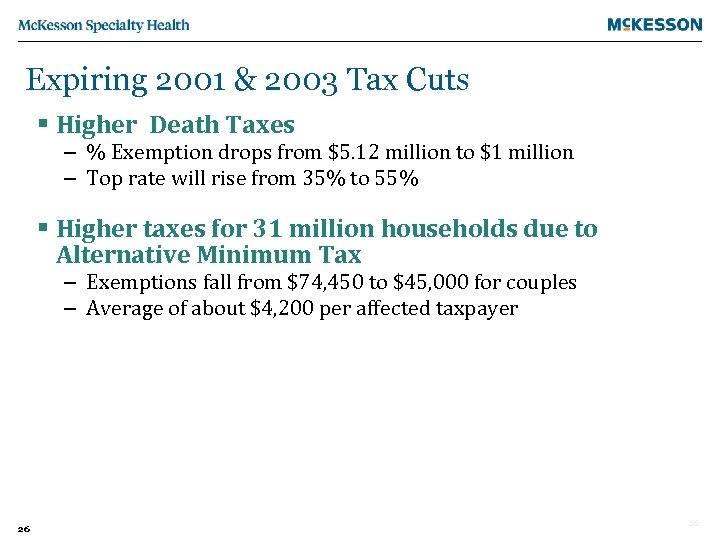 Expiring 2001 & 2003 Tax Cuts § Higher Death Taxes – % Exemption drops