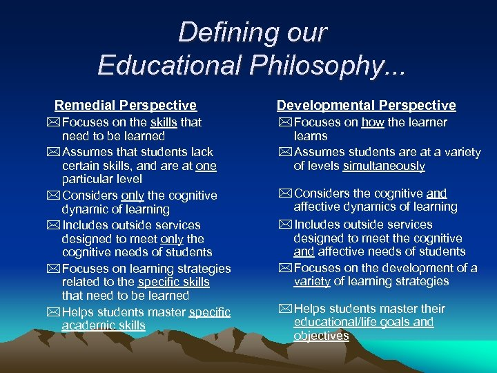 Defining our Educational Philosophy. . . Remedial Perspective * Focuses on the skills that