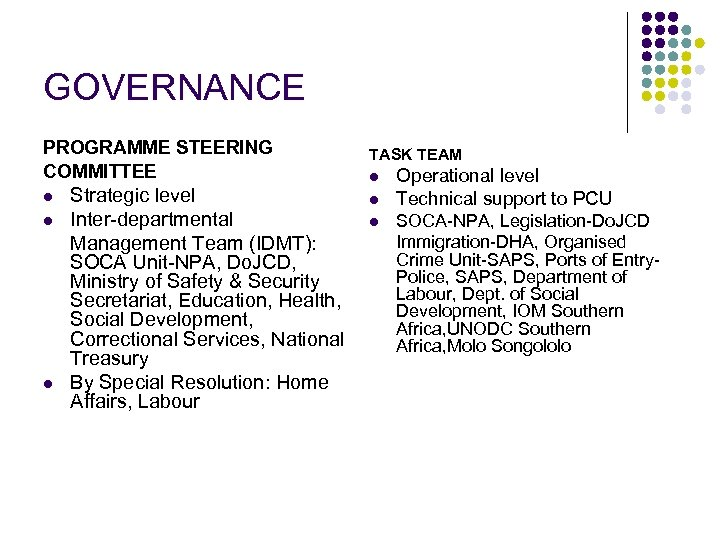 GOVERNANCE PROGRAMME STEERING COMMITTEE l l l Strategic level Inter-departmental Management Team (IDMT): SOCA