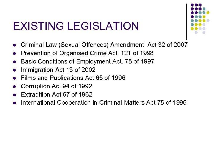 EXISTING LEGISLATION l l l l Criminal Law (Sexual Offences) Amendment Act 32 of