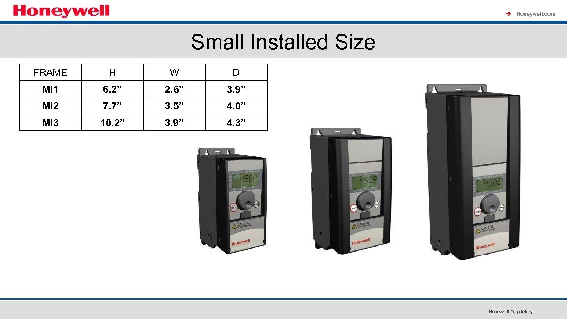 "à Honeywell. com Small Installed Size FRAME H W D MI 1 6. 2"""