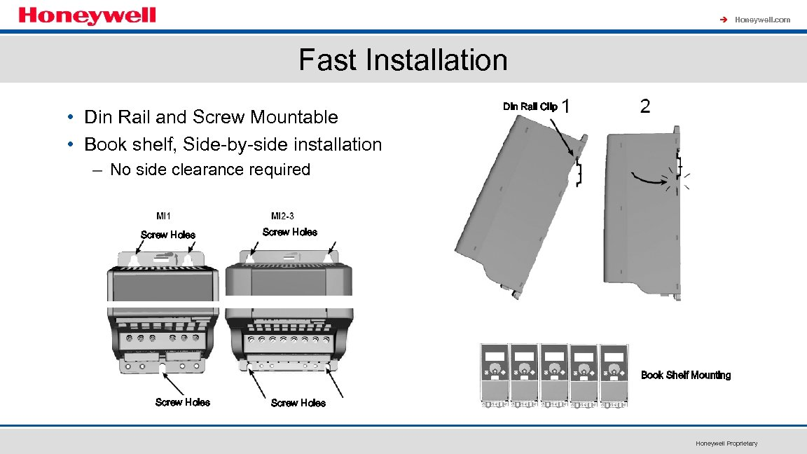à Honeywell. com Fast Installation • Din Rail and Screw Mountable • Book shelf,