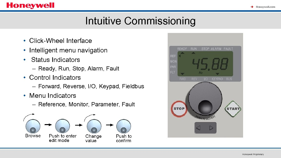 à Honeywell. com Intuitive Commissioning • Click-Wheel Interface • Intelligent menu navigation • Status