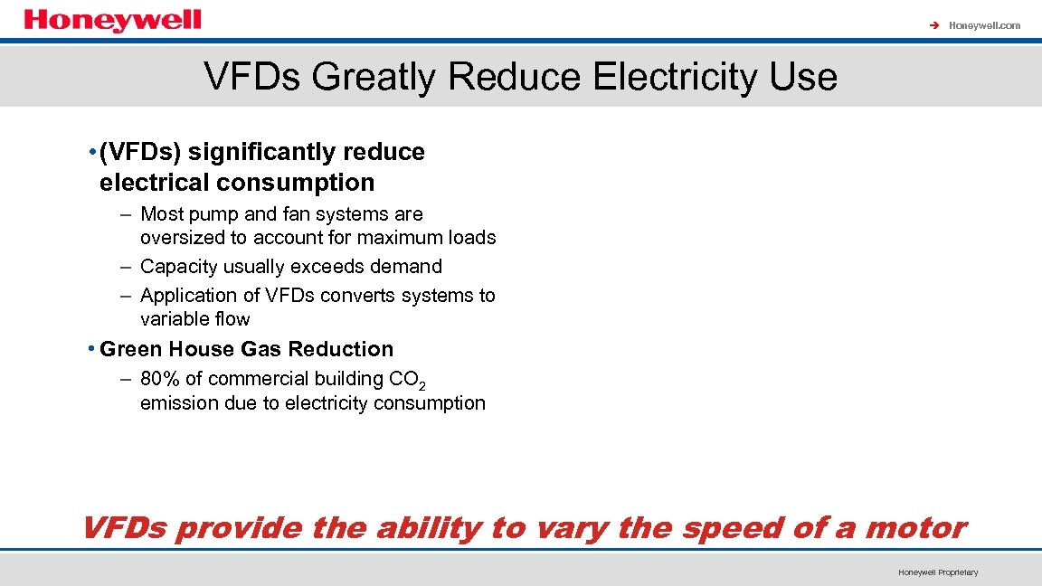 à Honeywell. com VFDs Greatly Reduce Electricity Use • (VFDs) significantly reduce electrical consumption