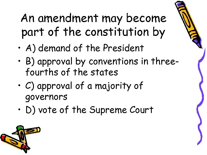 the new constitutional question No slide title constitutional question does the president have the right to purchase land if it is not expressed in the us constitution jefferson used implied powers or.