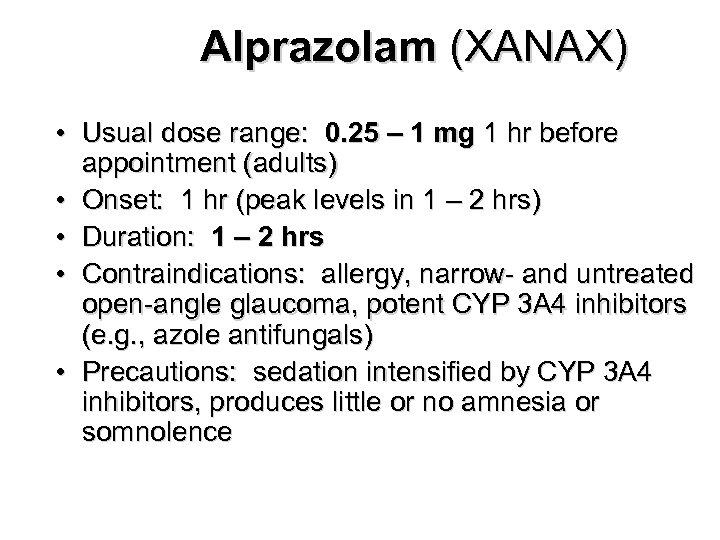 alprazolam threshold dose