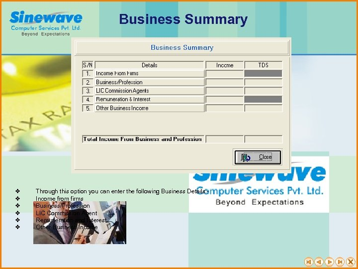 Business Summary v v v Through this option you can enter the following Business