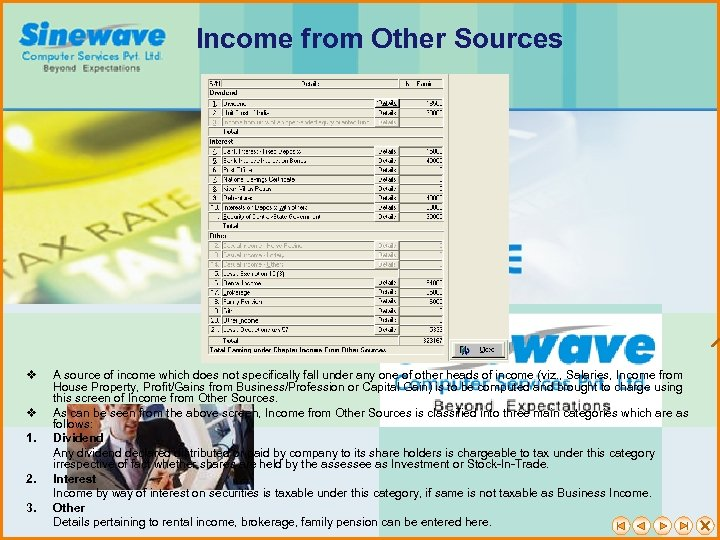 Income from Other Sources v v 1. 2. 3. A source of income which