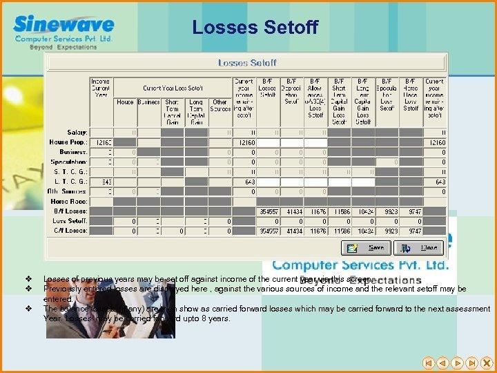 Losses Setoff v v v Losses of previous years may be set off against