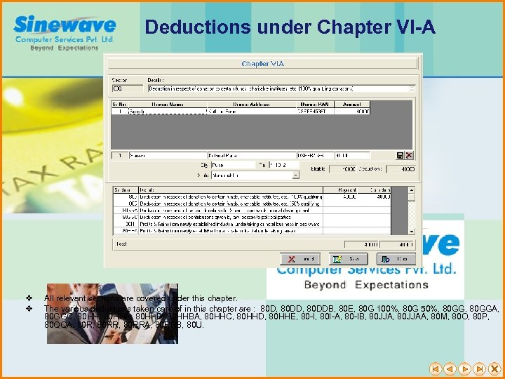 Deductions under Chapter VI-A v v All relevant sections are covered under this chapter.