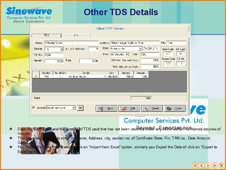 Other TDS Details v v v . Enter the particulars and the amount of