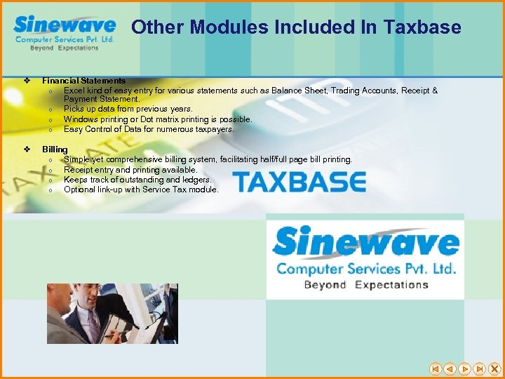 Other Modules Included In Taxbase v Financial Statements Excel kind of easy entry for