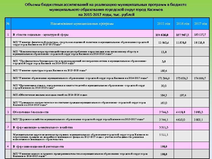 Объемы бюджетных ассигнований на реализацию муниципальных программ в бюджете муниципального образования-городской округ город Касимов
