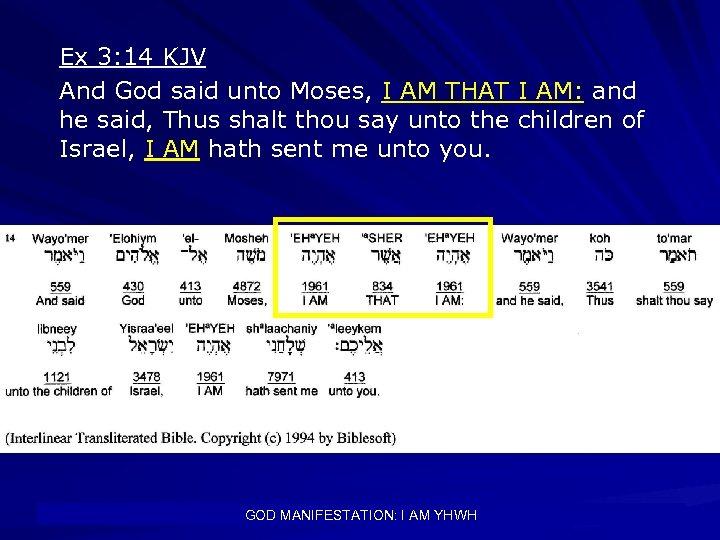 Ex 3: 14 KJV And God said unto Moses, I AM THAT I AM: