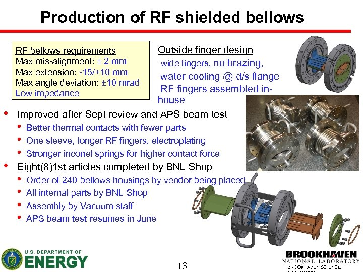 Production of RF shielded bellows Outside finger design wide fingers, no brazing, water cooling