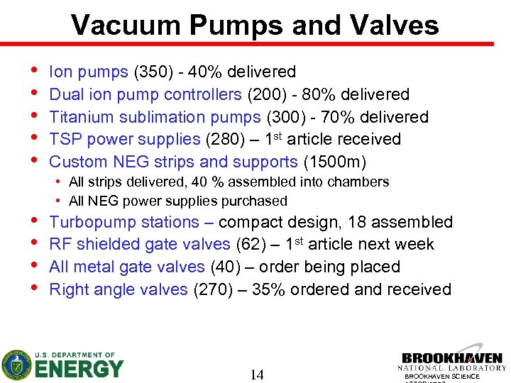 Vacuum Pumps and Valves • • • Ion pumps (350) - 40% delivered Dual