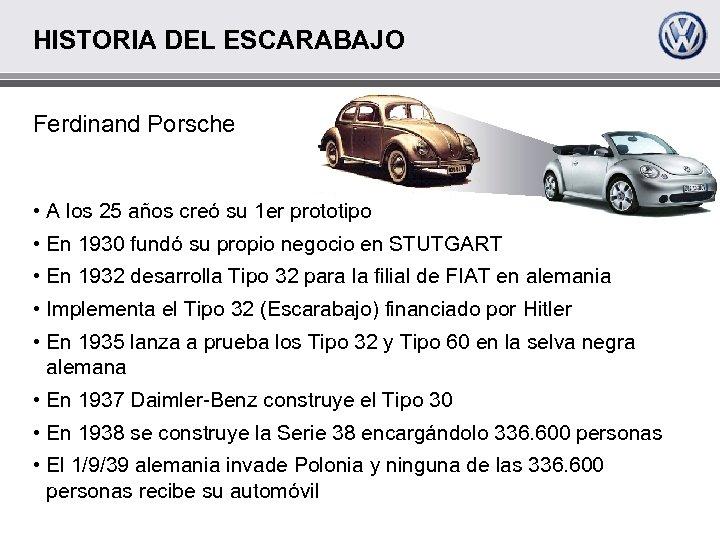 HISTORIA DEL ESCARABAJO Ferdinand Porsche • A los 25 años creó su 1 er